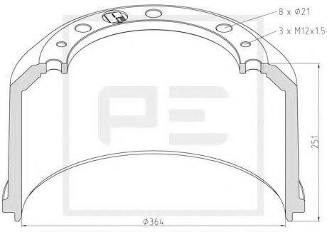 Тормозной барабан PE Automotive 01652400A