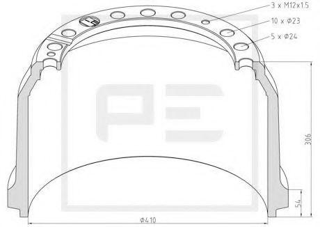 Тормозной барабан PE Automotive 01652500A