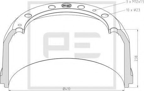 Тормозной барабан PE Automotive 01652700A