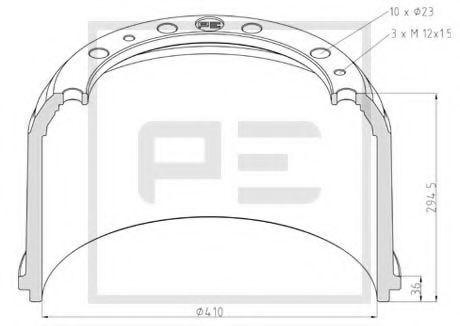 Тормозной барабан PE Automotive 01652800A
