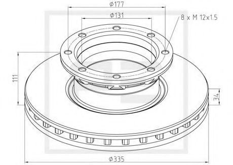 Тормозной диск PE Automotive 01666300A