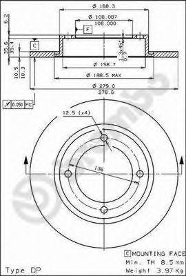 Тормозной диск BREMBO 08213410