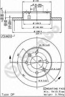 Диск тормозной передний BREMBO 08.2958.14