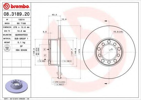Диск тормозной передний BREMBO 08318920