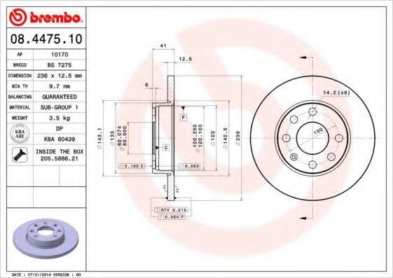 Диск тормозной передний BREMBO 08447510