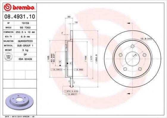 Диск тормозной задний BREMBO 08.4931.10