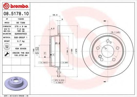 Диск тормозной задний BREMBO 08517810