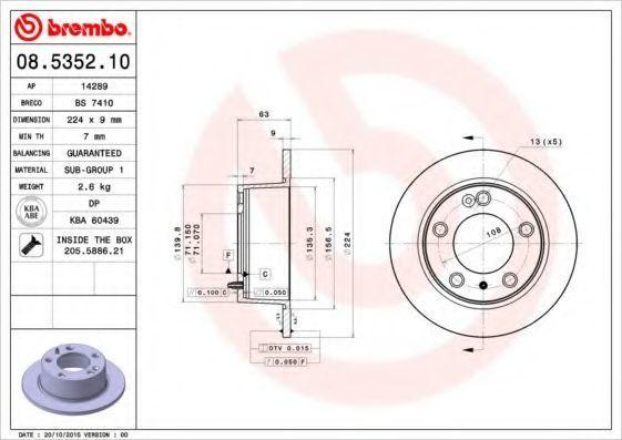 Диск тормозной BREMBO 08535210