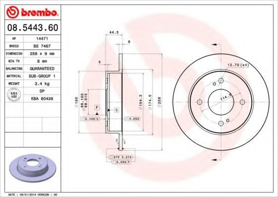 Диск тормозной BREMBO 08544360