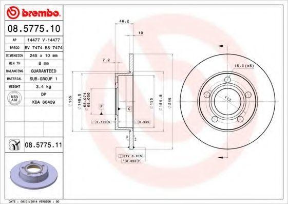 Диск тормозной BREMBO 08577510