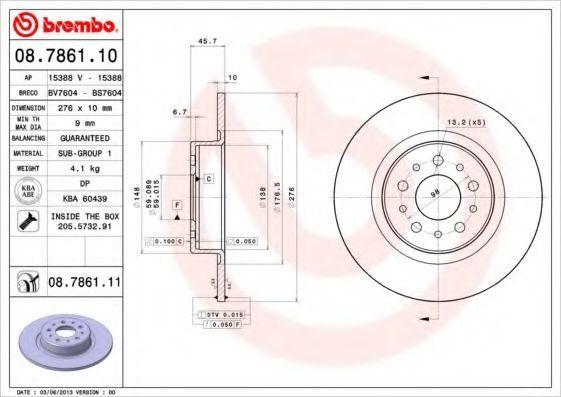 Диск тормозной задний BREMBO 08786110
