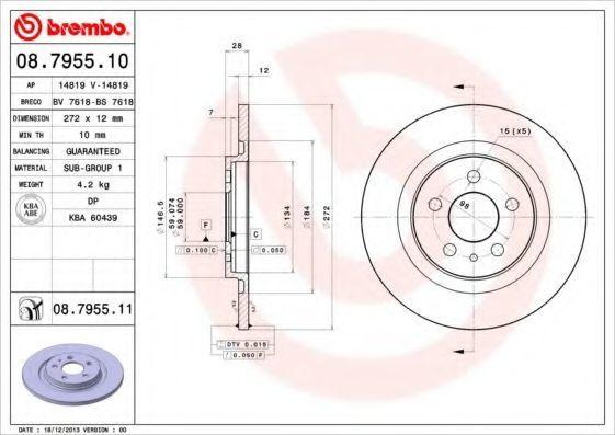 Диск тормозной BREMBO 08795511