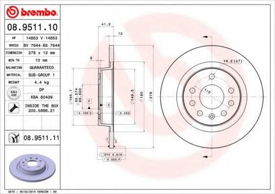 Диск тормозной задний BREMBO 08951110