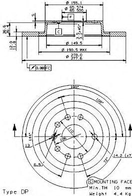 Диск тормозной задний BREMBO 08.9511.11