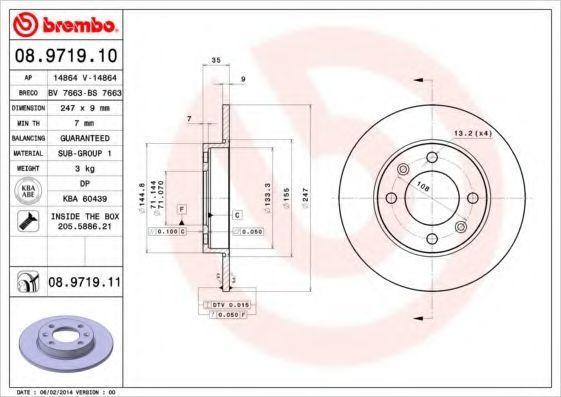 Диск тормозной задний BREMBO 08971910