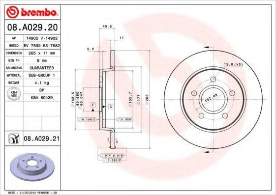 Диск тормозной задний BREMBO 08A02920