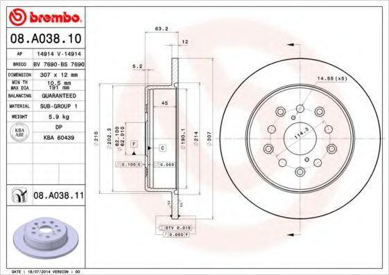 Диск тормозной задний BREMBO 08A03810
