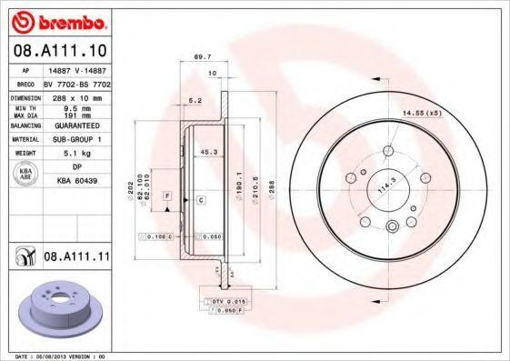 Диск тормозной задний BREMBO 08A11110