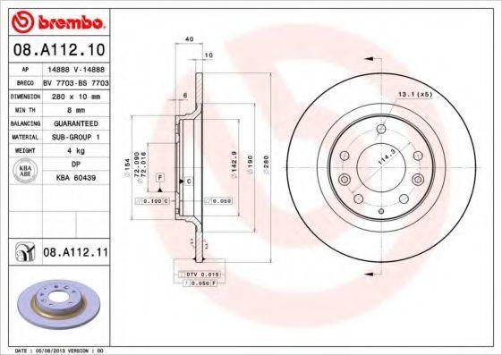 Диск тормозной задний BREMBO 08A11210
