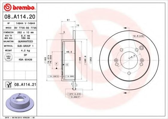 Диск тормозной BREMBO 08.A114.20