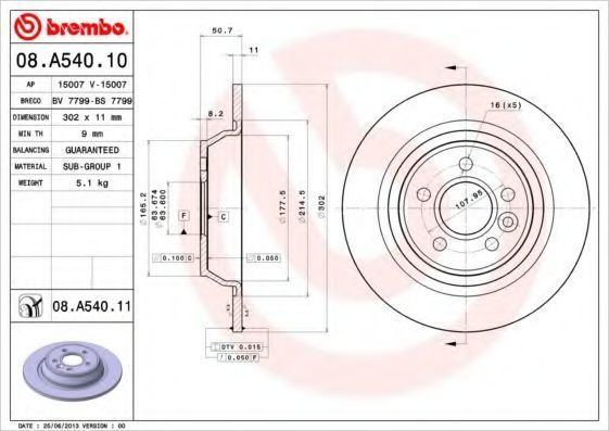 Диск тормозной BREMBO 08.A540.11