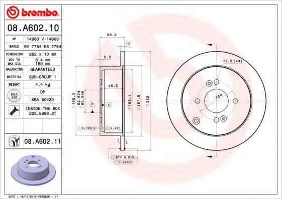Диск тормозной BREMBO 08A60211
