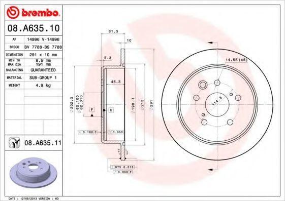 Диск тормозной BREMBO 08A63510