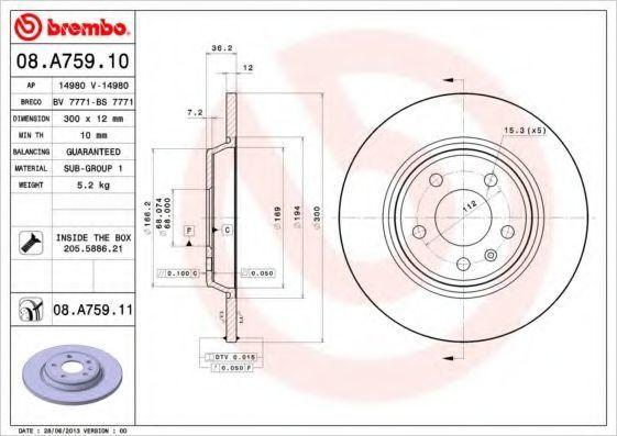 Диск тормозной BREMBO 08.A759.11