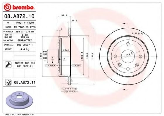 Диск тормозной BREMBO 08A87210