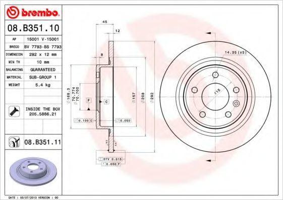 Диск тормозной BREMBO 08B35110