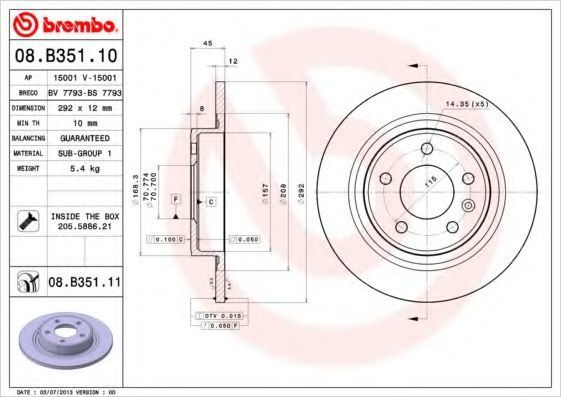 Диск тормозной BREMBO 08B35111
