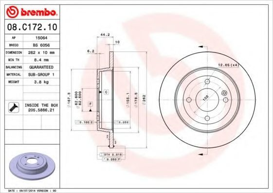 Диск тормозной BREMBO 08C17210