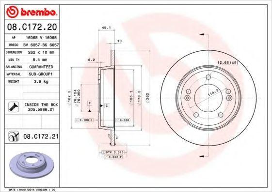 Диск тормозной BREMBO 08C17220
