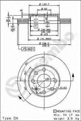 Диск тормозной передний BREMBO 09309014
