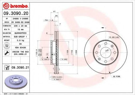 Диск тормозной передний BREMBO 09.3090.20