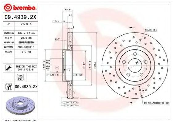 Диск тормозной XTRA BREMBO 0949392X