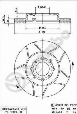 Диск тормозной BREMBO 09.5509.75