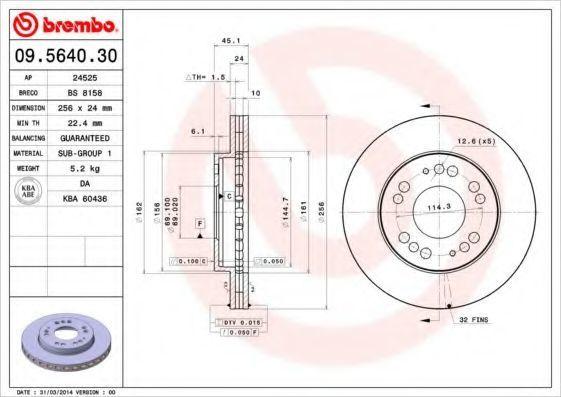 Диск тормозной BREMBO 09564030