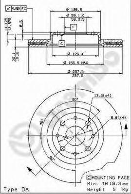 Тормозной диск BREMBO 09587011