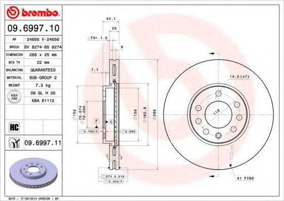 Диск тормозной передний BREMBO 09699710