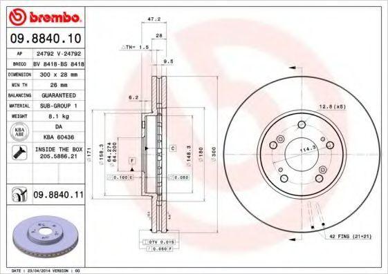 Диск тормозной вентилируемый BREMBO 09.8840.10
