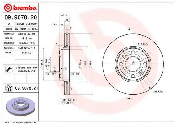 Диск тормозной BREMBO 09.9078.20