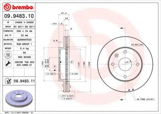 Диск тормозной передний BREMBO 09948310
