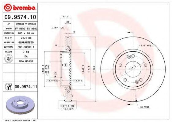 Диск тормозной передний BREMBO 09957410