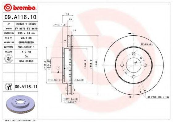 Диск тормозной BREMBO 09A11610