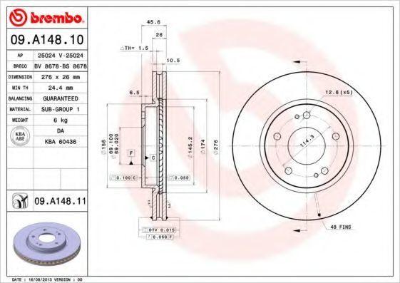 Диск тормозной BREMBO 09A14810