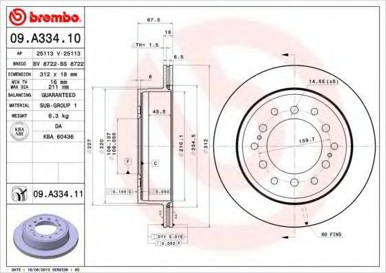 Диск тормозной BREMBO 09A33410