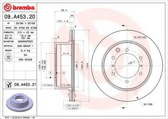 Диск тормозной BREMBO 09A45321
