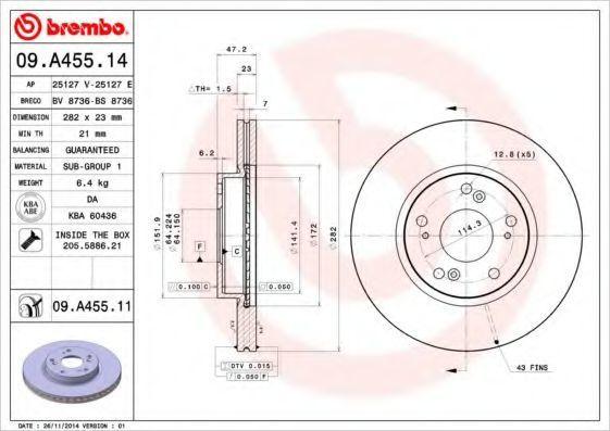 Диск тормозной BREMBO 09A45514