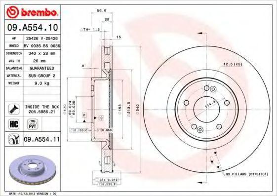 Тормозной диск BREMBO 09A55410